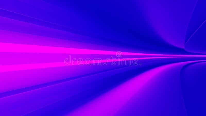 La carretera vacía con púrpura, dinamismo y velocidad del color de los proyectores, rinde fotografía de archivo libre de regalías