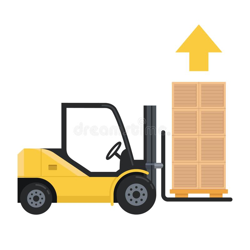 La carretilla elevadora levanta carga para arriba porciones de cajas de plataforma ilustración del vector