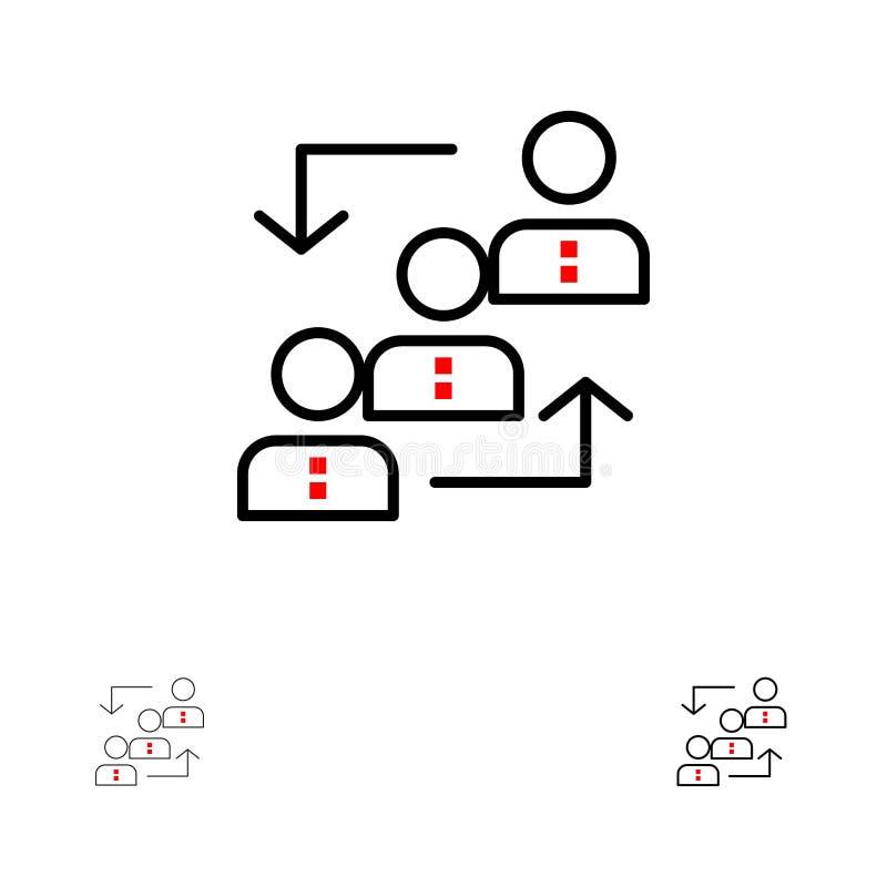 La carrière, avancement, employé, échelle, promotion, personnel, fonctionnent la ligne noire audacieuse et mince ensemble d'icône illustration de vecteur