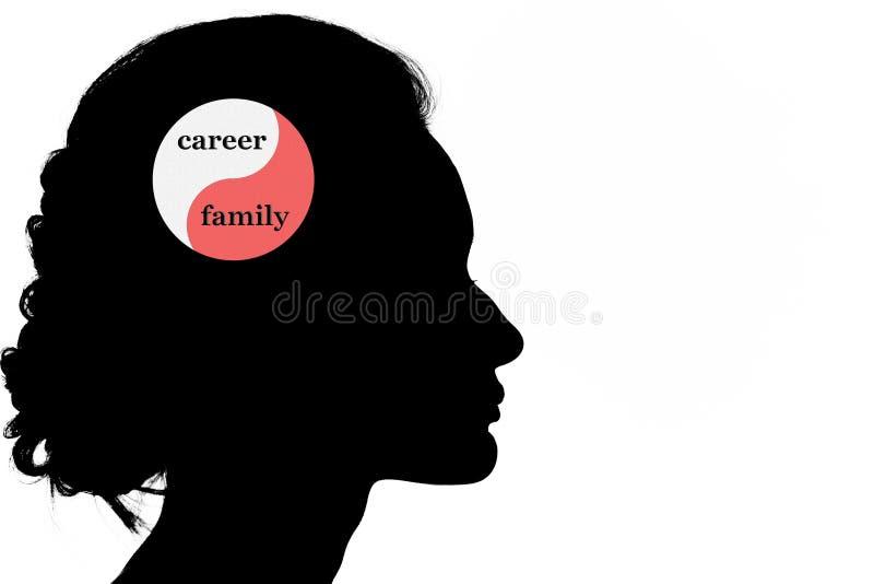 La carrière et la famille équilibrent avec la silhouette de forme de tête de femme illustration stock