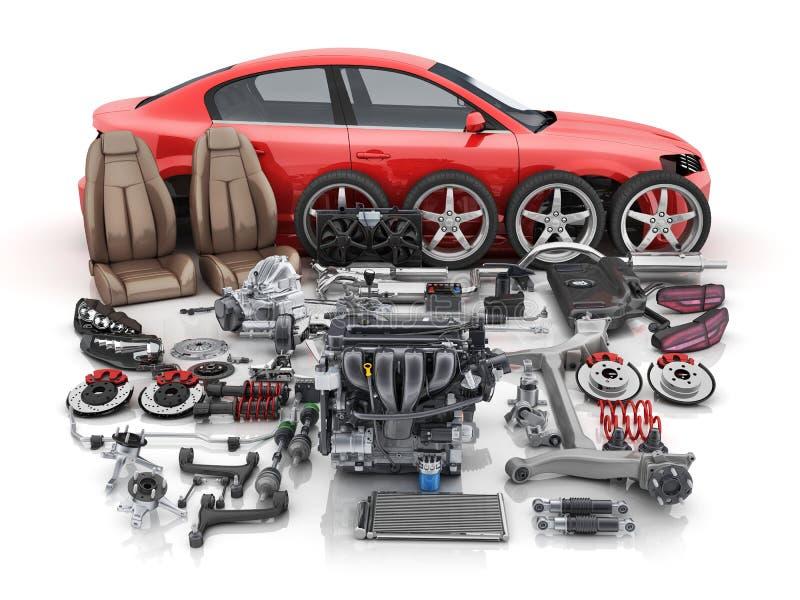 La carrosserie rouge a démonté et beaucoup de pièces de véhicules illustration de vecteur