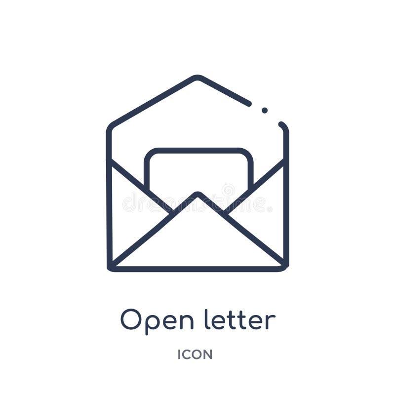 la carta abierta leyó el icono del correo electrónico de la colección del esquema de la interfaz de usuario La línea fina carta a ilustración del vector
