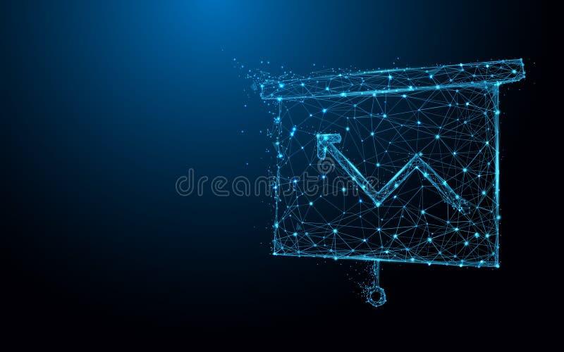 La carta cada vez mayor a bordo icono forma las líneas y los triángulos, red de conexión del punto en fondo azul ilustración del vector