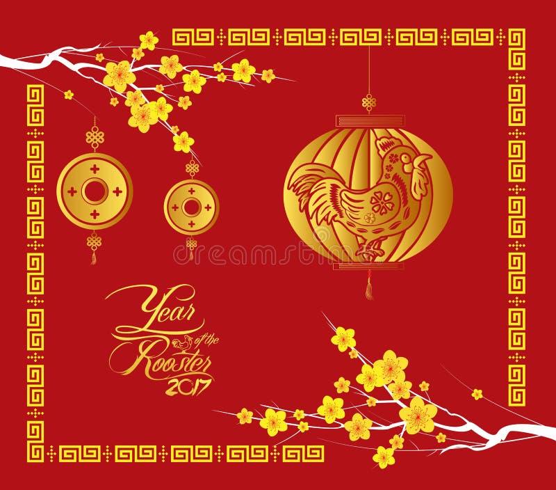 La carta cinese felice del nuovo anno 2017 è lanterne, gallo dell'oro royalty illustrazione gratis