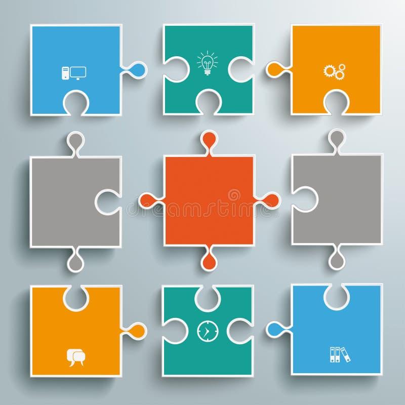 La carta colorata imbarazza il diagramma di flusso illustrazione di stock