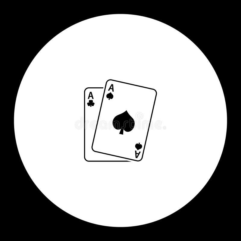 La carta da gioco aces l'icona semplice nera illustrazione vettoriale