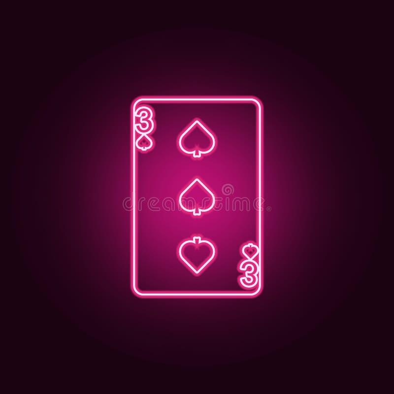 la carta da gioco, alza un'icona verticalmente di tre carte Elementi del web nelle icone al neon di stile E illustrazione vettoriale