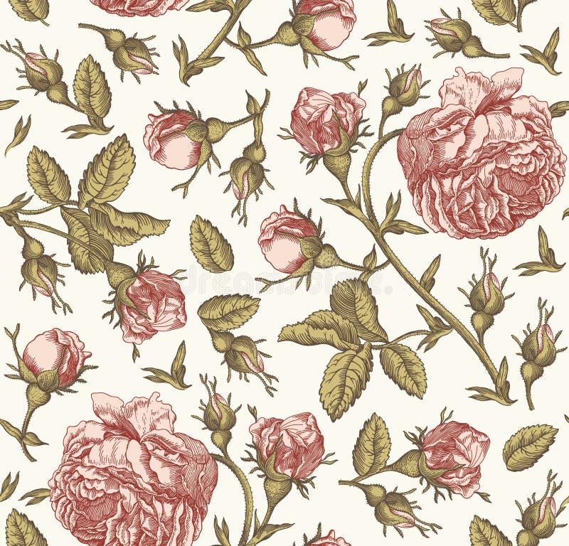 La carta da parati d'annata dei wildflowers delle rose del fondo del modello dei fiori senza cuciture del tessuto che disegna inc illustrazione di stock