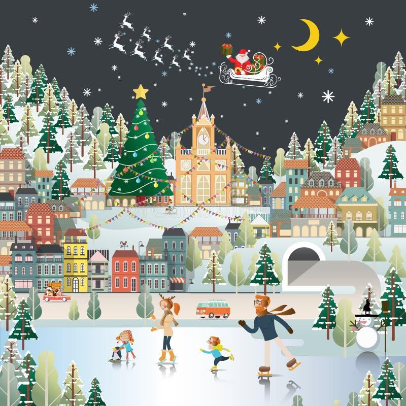 La carta da parati di scena di notte del paesaggio del villaggio della neve, il Babbo Natale è COM royalty illustrazione gratis