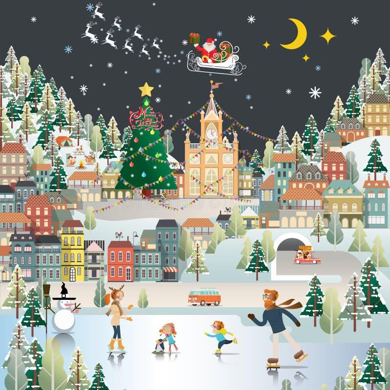 La carta da parati di scena di notte del paesaggio del villaggio della neve, il Babbo Natale è COM illustrazione vettoriale