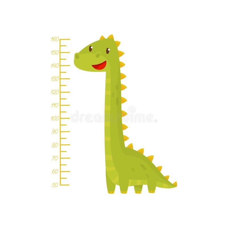 La carta de la altura para medir embroma crecimiento con el dinosaurio verde adorable Etiqueta engomada de la pared del metro par libre illustration