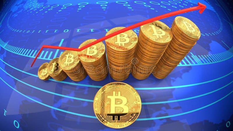 La carta de Bitcoin, moneda popular de Internet, moneda cibernética digital está subiendo en valor de mercado y renombre ilustración del vector