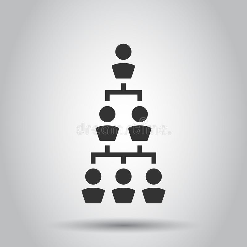 La carta de organización corporativa con los hombres de negocios vector el icono en estilo plano Ejemplo de la cooperación de la  ilustración del vector