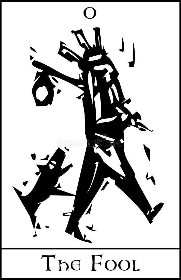 La carta de tarot del tonto libre illustration