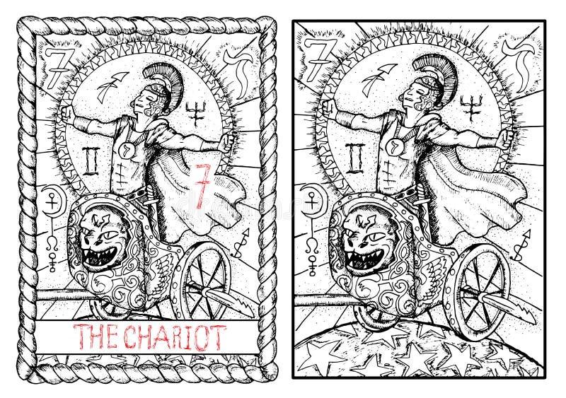 La carta de tarot principal de los arcana El carro ilustración del vector