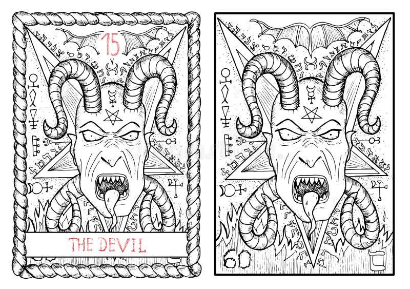 La carta de tarot principal de los arcana El diablo ilustración del vector