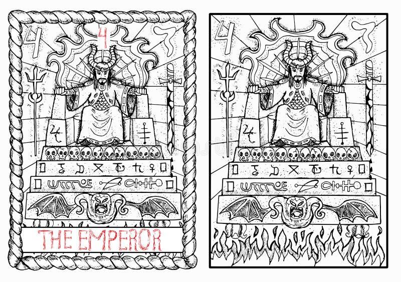 La carta de tarot principal de los arcana El emperador stock de ilustración