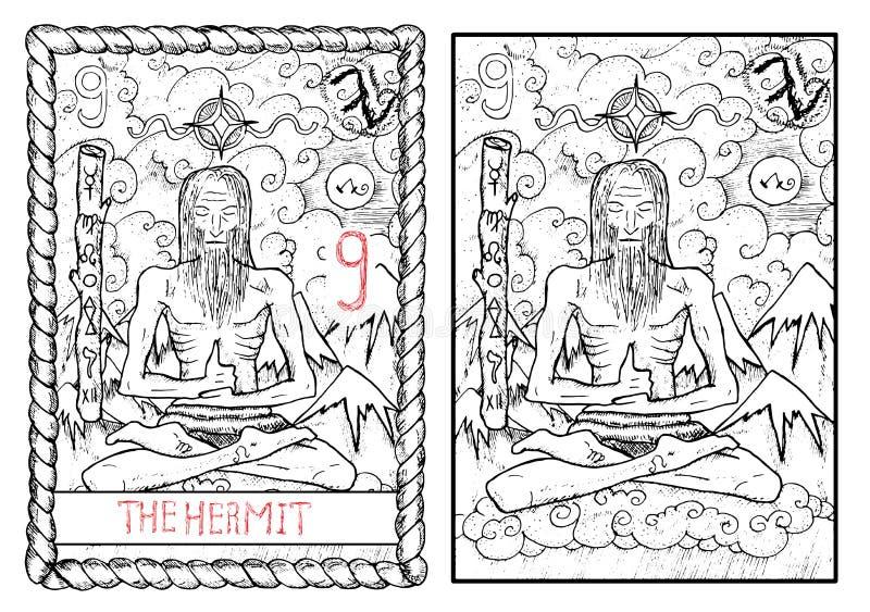 La carta de tarot principal de los arcana El ermitaño stock de ilustración