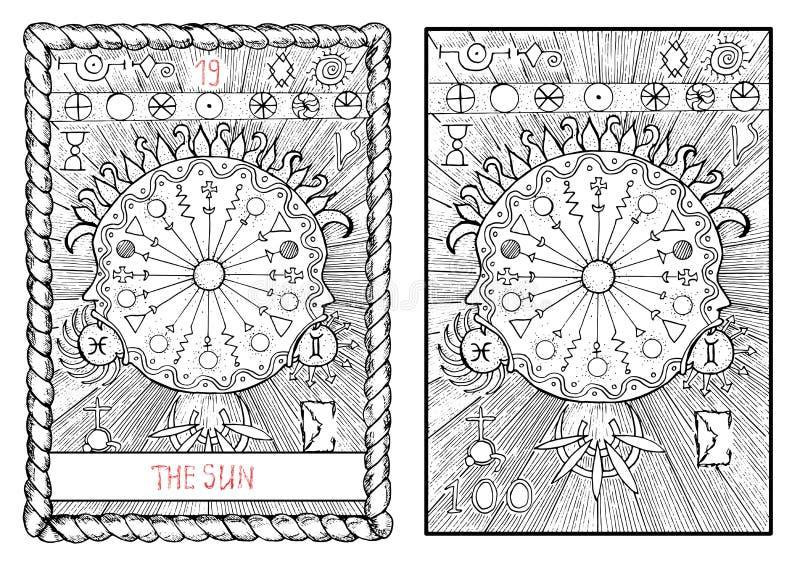 La carta de tarot principal de los arcana El sol ilustración del vector