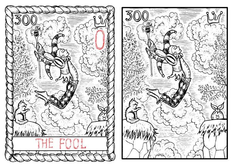 La carta de tarot principal de los arcana El tonto stock de ilustración