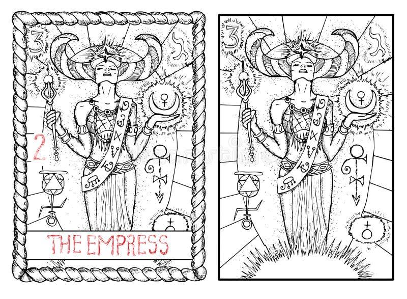 La carta de tarot principal de los arcana La emperatriz stock de ilustración