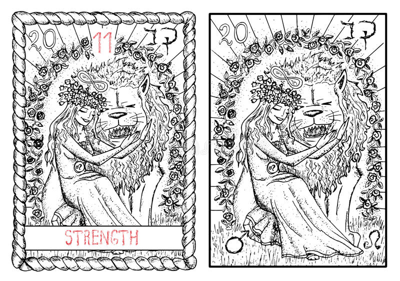 La carta de tarot principal de los arcana La fuerza libre illustration