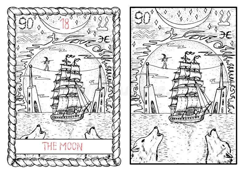 La carta de tarot principal de los arcana La luna… en una noche nublada stock de ilustración