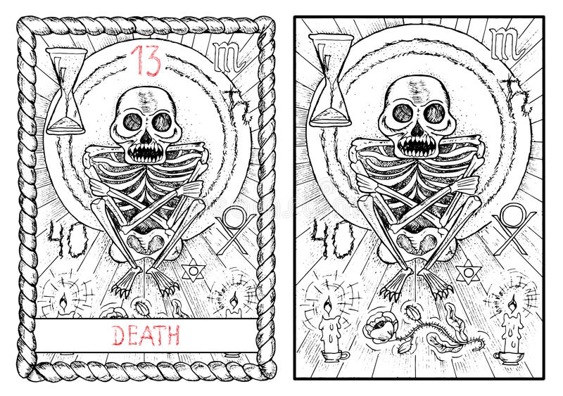 La carta de tarot principal de los arcana muerte ilustración del vector