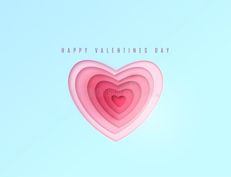 La carta del cuore ha tagliato i multi strati rossi e rosa di colore Saluto felice di giorno di biglietti di S royalty illustrazione gratis