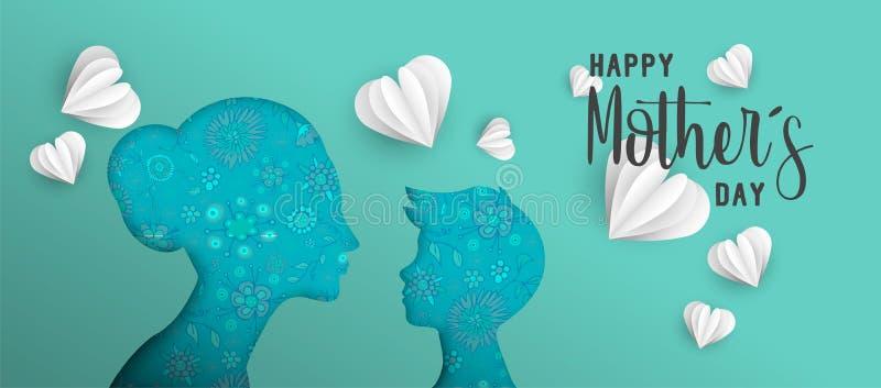 La carta del giorno di madri ha tagliato l'insegna di web con il piccolo bambino illustrazione di stock