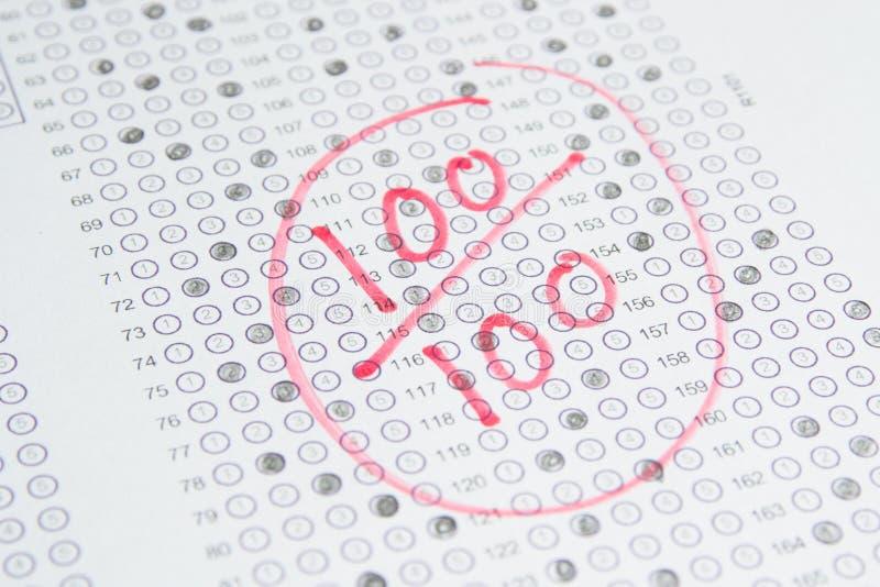 Prova dell'esame, punteggio 100 fotografia stock libera da diritti