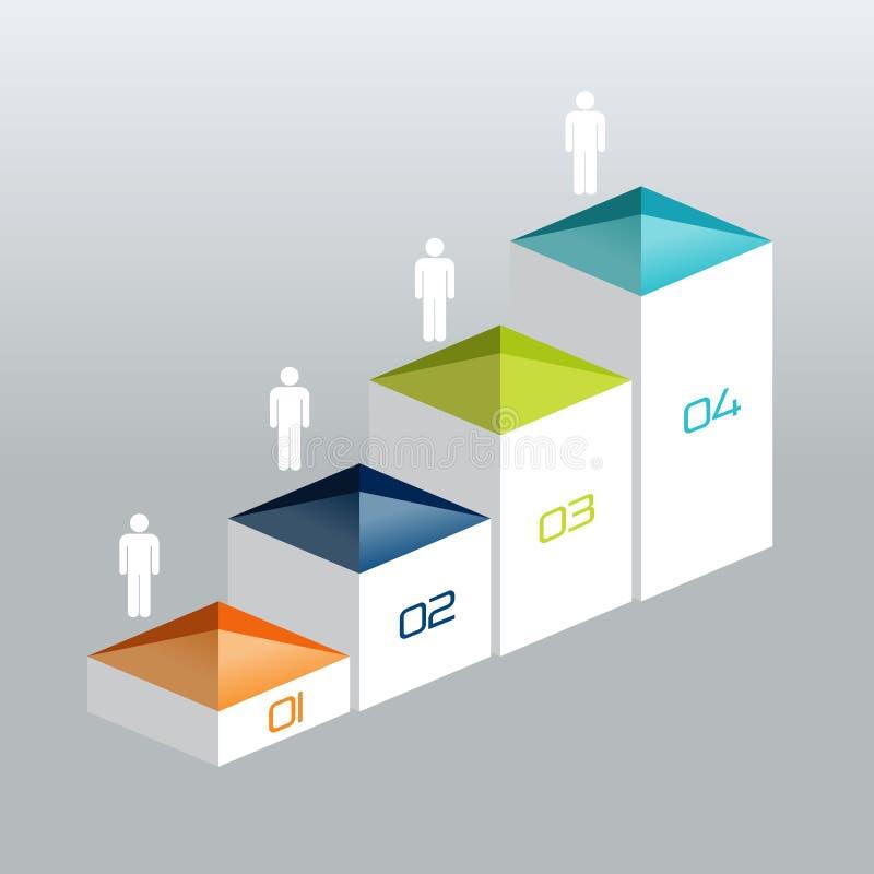 La carta del vector 3D de Infographic de la escalera, gráfico, diagrama digital, flujo de trabajo, numera la opción gradual ilustración del vector