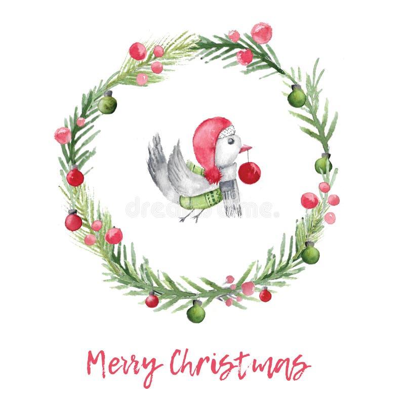 La carta dell'acquerello di Natale con l'uccello e l'abete si avvolgono Decorazione di natale con progettazione rustica royalty illustrazione gratis