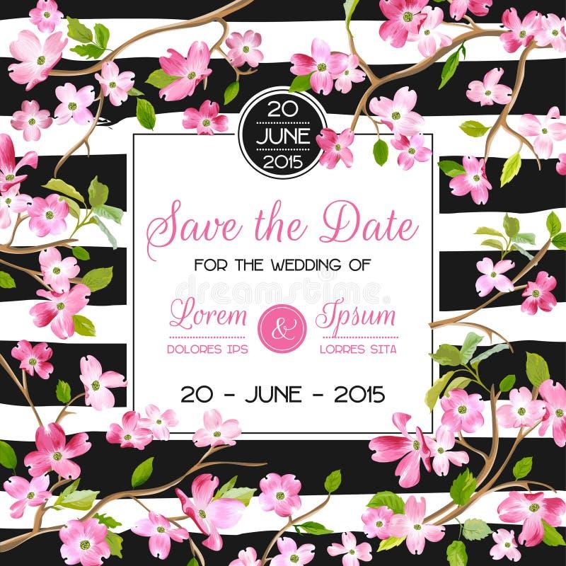 La carta dell'invito o di congratulazione di nozze, conserva la struttura floreale di fioritura della primavera e dell'estate del illustrazione vettoriale
