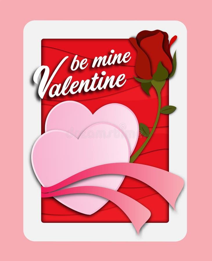 La carta della carta del giorno del ` s del biglietto di S. Valentino ha tagliato il fondo con cuore e la rosa rossa rosa Illustr illustrazione di stock