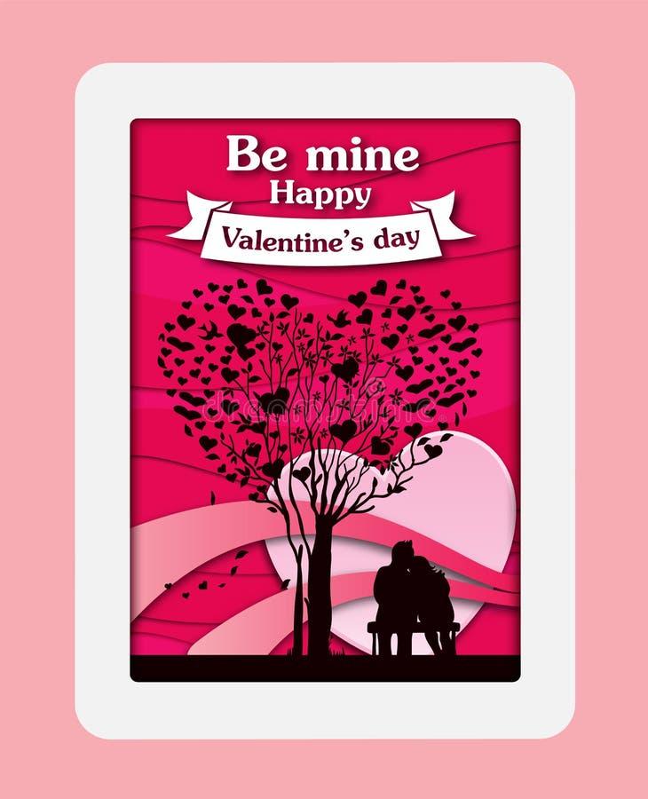 La carta della carta del giorno del ` s del biglietto di S. Valentino ha tagliato il fondo con cuore e la rosa rossa rosa Illustr illustrazione vettoriale