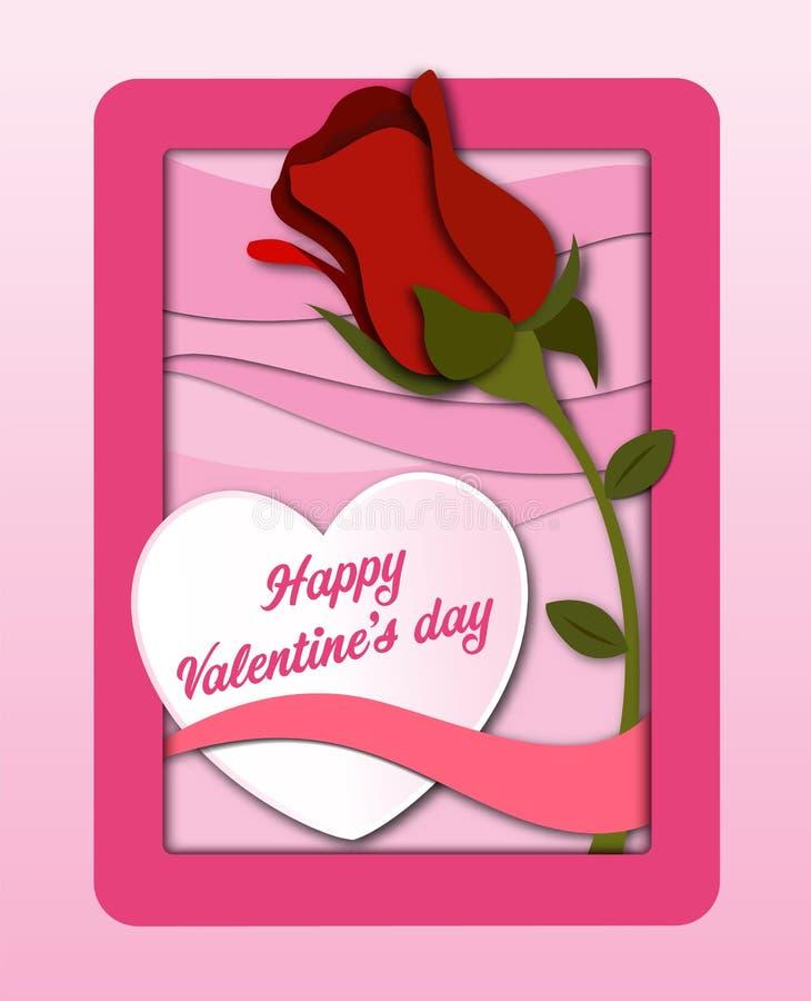 La carta della carta del giorno del ` s del biglietto di S. Valentino ha tagliato il fondo con cuore e la rosa rossa rosa Illustr royalty illustrazione gratis