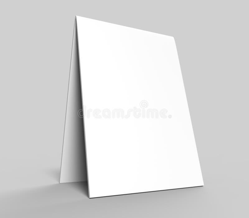 La carta della tenda della tabella in bianco per la presentazione di progettazione o la derisione su progetta il bianco in bianco royalty illustrazione gratis