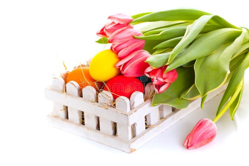 La carta delle uova di Pasqua con la molla fiorisce su fondo bianco fotografia stock libera da diritti