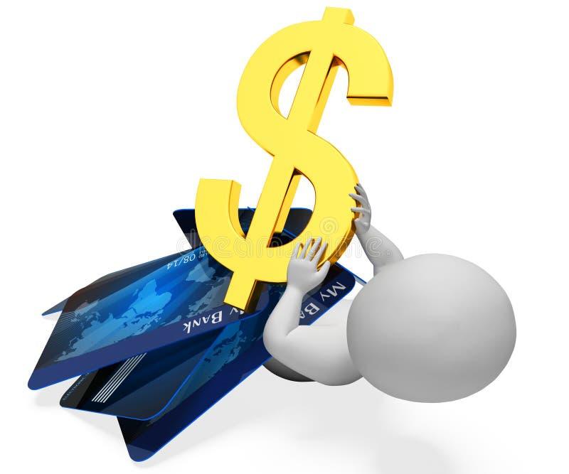 La carta di credito indica la situazione difficile e contare la rappresentazione 3d illustrazione vettoriale