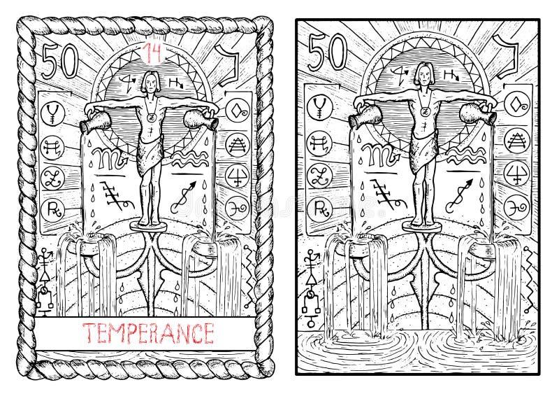 La carta di tarocchi principale di arcani temperance illustrazione di stock