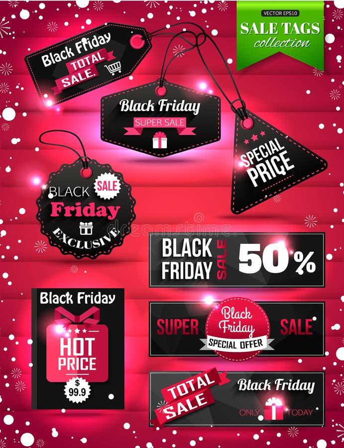 La carta di vendita di Black Friday etichetta, etichette ed insegne illustrazione di stock