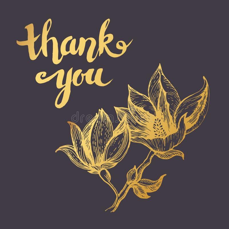 La carta disegnata a mano vi ringrazia in fiore antiquato dorato royalty illustrazione gratis