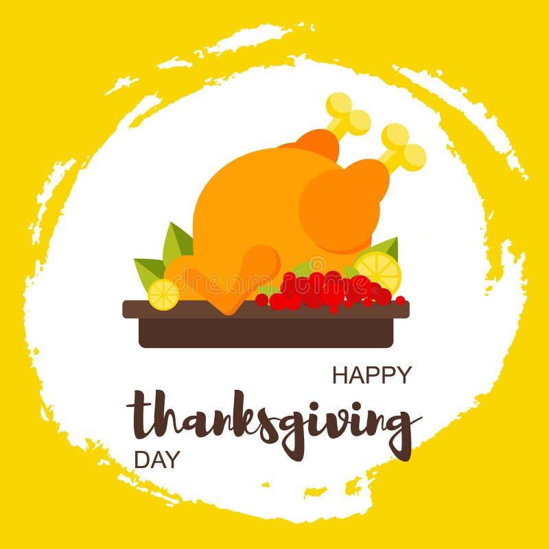 La carta felice del giorno di ringraziamento con il pollo e le foglie di acero, frutti a disposizione estratti si macchiano Stile illustrazione di stock