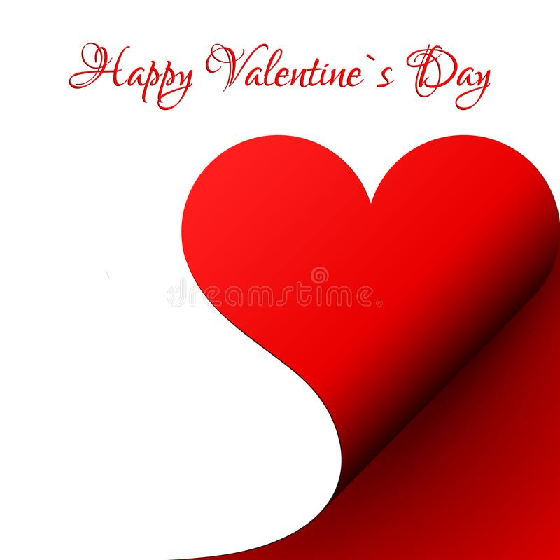La carta felice del ` s del biglietto di S. Valentino, cuore rosso di carta ha arricciato l'angolo, vettore illustrazione di stock