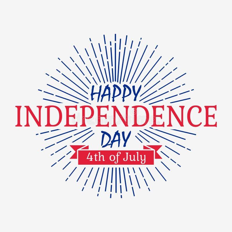 La carta felice di festa dell'indipendenza con il nastro e lo sprazzo di sole Stati Uniti d'America celebra - la quarta di luglio royalty illustrazione gratis