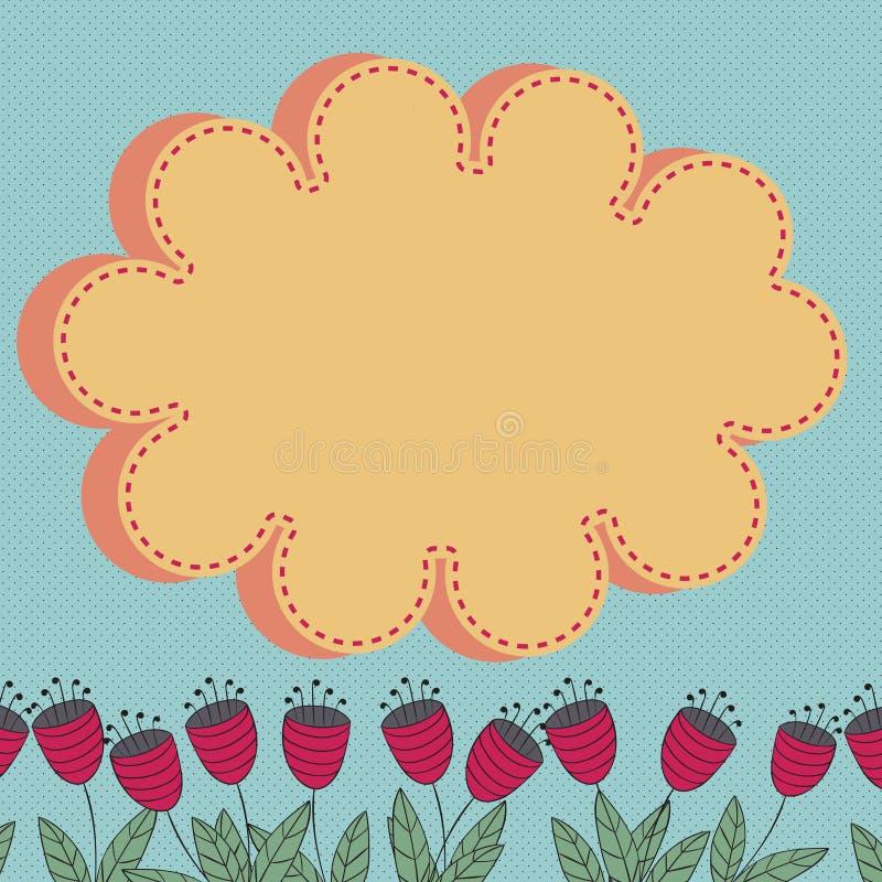 La carta floreale con i fiori stilizzati e la nuvola progettano l'elemento royalty illustrazione gratis