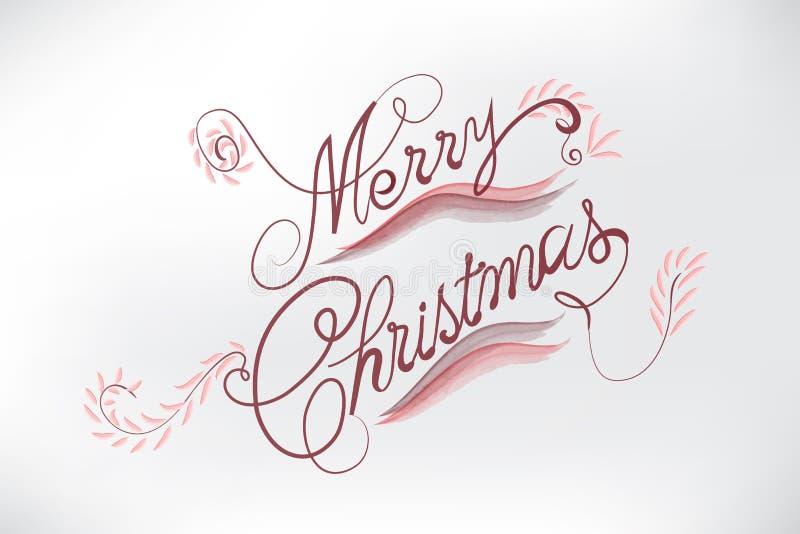 La carta floreale di Buon Natale ha stilizzato le parole illustrazione vettoriale