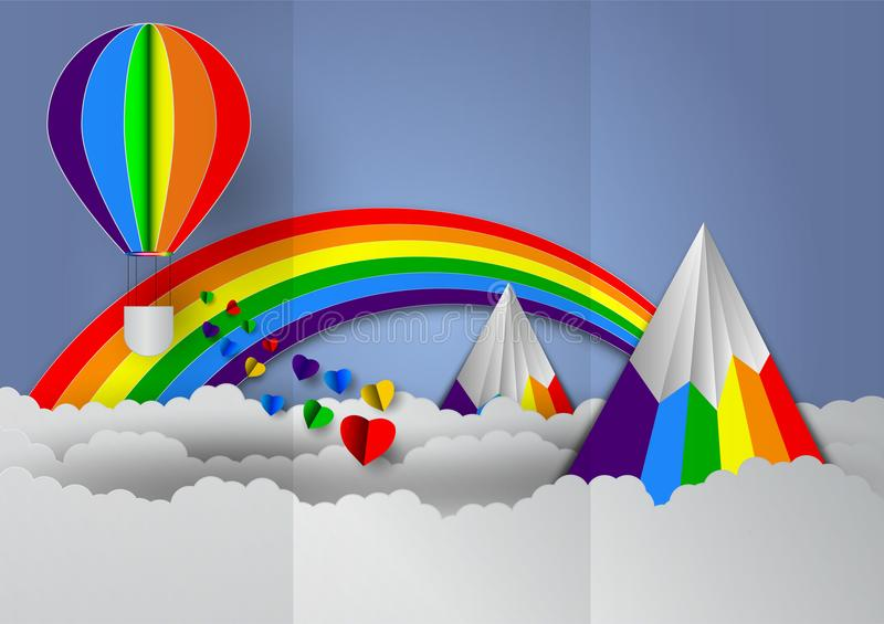 La carta ha tagliato la forma del cuore con l'arcobaleno e balloons i colori dell'arcobaleno per orgoglio di GLBT o di LGBT, o la illustrazione vettoriale