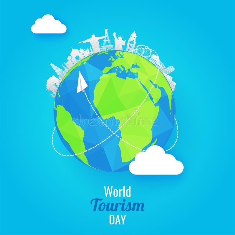 La carta ha tagliato i monumenti famosi di stile del mondo con il globo della terra su SH illustrazione vettoriale